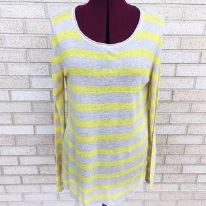 Vince Camuto Bright Neon Yellow Striped Sweater